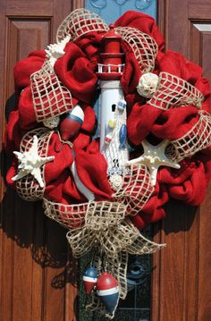 Burlap Beach Lighthouse Wreath by mymomandmedesigns1 on Etsy, $98.00