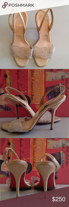 Christian Louboutin Shoes Christian Louboutin Satin Cream Open Toe Slingback Pumps with Lace Detail around the toes; Mint Condition Christian Louboutin Shoes Heels
