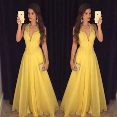 V-Neck Beading Handmade Prom Dress,Long Prom Dresses,Prom Dresses,Evening Dress,