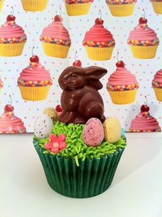 Chocolate Bunny with Eggs and Grass cupcakes - love this!
