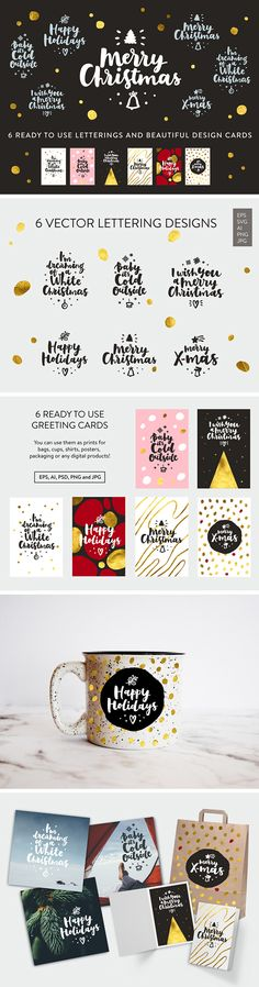 Free Merry Christmas Lettering – a set of beautiful Christmas lettering compositions and print-ready greeting card designs.