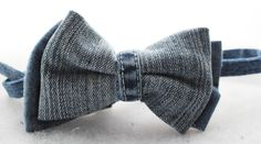 This is a double bow-tie that I created from upcycled denim that was part of jeans that can no longer be pants. It features the inseam of the pants as a center knot.