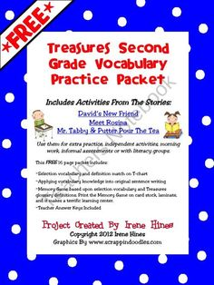 FREE Second Grade Treasures Vocabulary Practice Sample Packet {Based On Common Core Standards} Includes Activities From The Stories: David's New . Primary Teaching, Teaching Reading, Teaching Ideas, Guided Reading, Teaching Resources, Learning, Vocabulary Practice, Vocabulary Activities, Language Activities