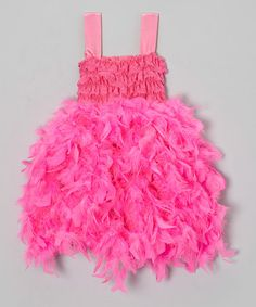 Take a look at this Pink Feather Dress - Infant, Toddler & Girls by Royal Gem on #zulily today!
