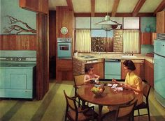 Décoration Mid Century, Mid Century Decor, Mid Century House, Mid-century Interior, Vintage Interior Design, Vintage Interiors, Modern Interior, Mid Century Modern Kitchen, Mid Century Modern Design