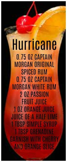 Try the Captain's twist on the New Orleans Hurricane drink using spiced rum, passion fruit & mango juice, sweet & sour mix and lime. Check out more Captain Morgan spiced rum cocktail recipes. Hurricane Recipe, Hurricane Drink, Refreshing Drinks, Fun Drinks, Yummy Drinks, Beverages, Party Drinks, Liquor Drinks, Cocktail Drinks