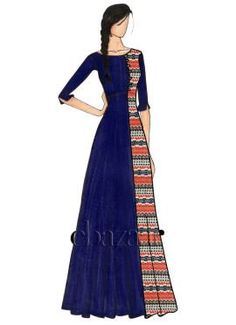 Navy Blue Opal Double Panel Indowestern Set