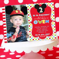 Mickey Mouse Invitation, Thank You Note, Address Labels and Envelope Seals - Clubhouse Photo Invitation by Amandas Parties TO GO via Etsy Mickey Mouse Birthday Invitations, Mickey Mouse Bday, Mickey Mouse Clubhouse Birthday Party, Mickey Mouse Parties, Mickey Party, 2nd Birthday Parties, Birthday Ideas, Mickey Mouse Photos, Before Midnight