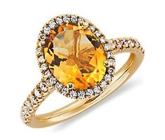 I'm going to buy this for myself! A nice sized right hand ring!!!   Citrine and Diamond Ring in 18k Yellow Gold (10x8mm)