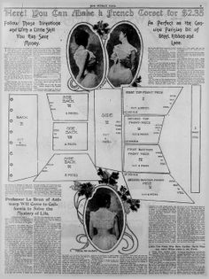 Pattern for a ribbon corset. After 1900.