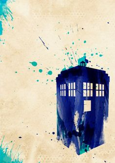 "Doctor Who themed poster of the TARDIS  18x24"" poster print of watercolour styled illustration"