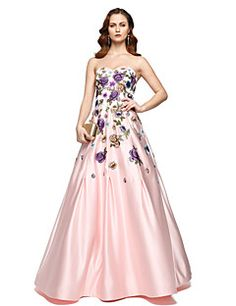 2017+TS+Couture®+Formal+Evening+Dress+-+Elegant+A-line+Sweetheart+Floor-length+Chiffon+Satin+with+Pleats+–+GBP+£+282.90