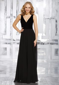 View Dress - Mori Lee BRIDESMAIDS FALL 2017 Collection: 21535 - Stretch Velvet and Chiffon Bridesmaids Dress with V-Neckline | MoriLee Bridesmaids
