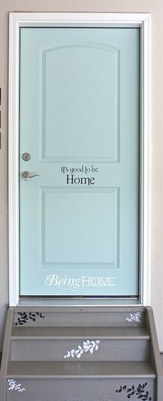 "Garage Entry Door Makeover....  font is ""Romance Fatal"" ....etsy decals: https://www.etsy.com/shop/WOWhomedecor"