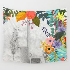 #bouquet #watercolor #colorful #flowers #floral #woman #girly #pretty #shabby #spring #summer available in different #homedecor products. Check more at society6.com/julianarw #walltapestry