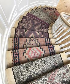 Stairway to heaven? // Our custom stair runner design and install now on Link in bio 😍 Staircase Runner, Stair Runners, Spiral Staircase, Wood Floor Pattern, Carpet Remnants, Everything But The House, Do It Yourself, Houses, Bohemian