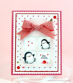 Pretty Pink Posh  I  Valentine using PPP Stitched Duo 3 dies with ME Arctic Penguins.