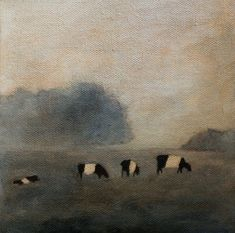 Belted Cows in the mist print of original oil by clairespaintings