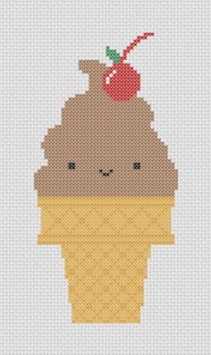 Chocolate Ice Cream Cone with Cherry Cross Stitch Pattern (Printable PDF) Cute Kawaii. $2,00, via Etsy.