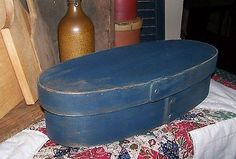 Vintage Distressed oval shaker style document box old style blue Listed by sunnydaz8