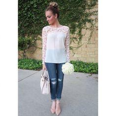 Feeling extra girly today in this adorable crochet top + ballerina bun. #HelloGorgeous