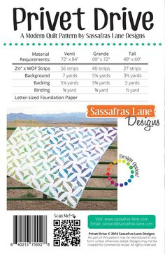"""This fun modern paper-piecing pattern includes three different sizes: Venti (72"""" x 84""""), Grande (60"""" x 72"""") and Tall (48"""" x 60""""). Dig into your scrap bins or grab a jelly-roll to make this visually stimulating quilt pattern! You will needLetter-Size Foundation Papersto make this quilt. Find themhere! Our downloadable PDF patterns are easy to buy and there is never a shipping cost! After your purchase you will receive a link to downloadable your pattern. Pat..."""