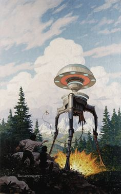 Tim Hildebrandt - Tripod Trilogy Book One: The White Mountains Cover Original Art (1991)