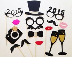 2015 printable hat, glass and bow photo booth props for new years - photobooth ideas, paper goods, glitter props