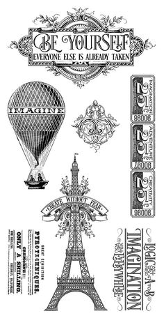 Graphic 45 - Hampton Art - Worlds Fair Collection - Cling Mounted Rubber Stamps… Graphic 45, Vintage Diy, Stamp World, Hampton Art, World's Fair, Collage, Digi Stamps, Tour Eiffel, Art World