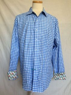 Robert Graham Mens Button Up Shirt 2XL Checks Plaids Blue White Long Sleeves  #RobertGraham #ButtonFront