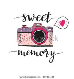 Retro Photo Camera Stylish Lettering Collect Stock Vector (Royalty Free) 408102490 : Retro photo camera with stylish lettering Sweet memory. Print for your design. Calligraphy Quotes Doodles, Doodle Quotes, Hand Lettering Quotes, Doodle Art, Journal Quotes, Book Journal, Camera Clip Art, Camera Illustration, Drawing Quotes