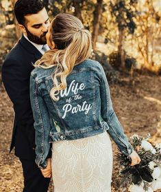 In love with these jackets ☺️☺️ Is anyone planning to do a wedding denim jacket? Denim Wedding, Wedding Jacket, Boho Wedding, Wedding Engagement, Dress With Jean Jacket, Party Jackets, Bridal Jackets, The Knot, Winter Bride