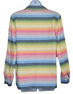 Alfred Dunner Womens Jacket Rainbow Stripes Button Down Linen Blend Size 10