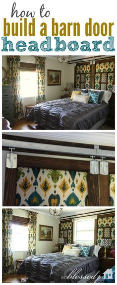 An innovative headboard for the bedroom plus it solved the issue of having a bed in front of a large window.
