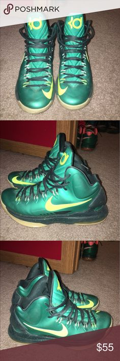 """KD 5 """"Hulks"""" These are a pair of hardly worn KD 5s. There are very few to no flaws with these shoes. They are beautiful and perfect to a collection. Unfortunately, I outgrew them. Nike Shoes Sneakers"""