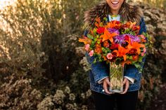Bright Fall Flower Arrangements to instantly brighten their day! Fall Flower Arrangements, Red Carnation, Asiatic Lilies, Fall Bouquets, Make Your Own, How To Make, Fall Flowers, Chrysanthemum, Carnations