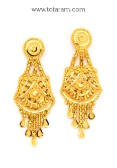 Buy 22K Gold Drop Earrings - GER6763 with a list price of $418.99 - 22K Indian Gold Jewelry from Totaram Jewelers