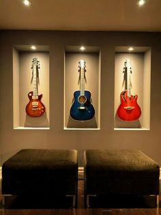 built-in guitar wall niche! Home Music Rooms, Music Studio Room, Guitar Wall, Guitar Room, Guitar Display Wall, Guitar Design, Guitar Storage, Modern Basement, Basement Remodeling