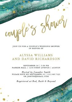 """Watercolor Teal and Gold Geode Couples Shower Invitation. Size: 5"""" x 7"""" Make custom invitations and announcements for every special occasion! Choose from twelve unique paper types, two printing options and six shape options to design a card that's perfect for you. Size: 5"""" x 7"""" (portrait) or 7"""" x 5"""" (landscape) Standard white envelope included Add photos and text to both sides of this flat card at no extra charge Use the """"Customize it!"""" CLICK IMAGE FOR MORE DETAILS. Couples Wedding Shower Invitations, Wedding Couples, Custom Invitations, Colored Envelopes, White Envelopes, I Do Bbq, Couple Shower, Teal And Gold, Envelope Liners"""