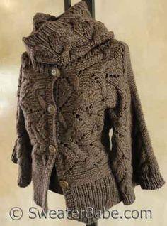 655113d0b8 Knitting Pattern - Kimono Sleeve Sideways Cardigan and Cowl Set from  SweaterBabe.com Snood Knitting