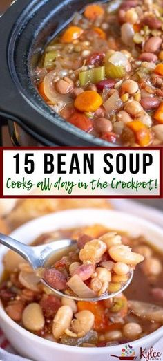 Bean Soup (Crock Pot/Slow Cooker) This 15 bean soup cooks ALL day. Come home to deliciouness! This 15 bean soup cooks ALL day. Come home to deliciouness! Crock Pot Recipes, Bean Soup Recipes, Healthy Crockpot Recipes, Slow Cooker Recipes, Recipes With 15 Beans, Recipe For Bean Soup, Lentils Crockpot Recipes, Bean Soup With Ham, Vegan Bean Soup