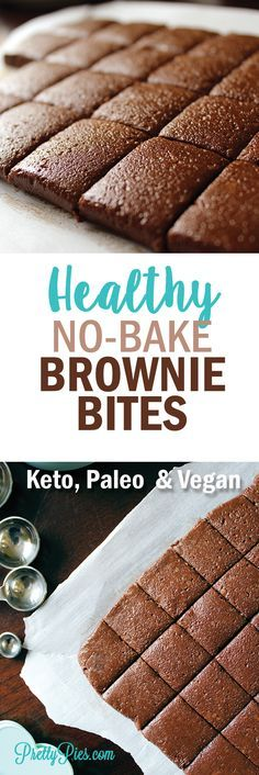 Flourless, no-sugar, no-bake bites of brownie bliss. Ready in minutes when you need a healthy chocolate fix. Dairy-free & gluten-free! Low-Carb, #Keto, #Paleo and #Vegan approved! Recipe from PrettyPies.com