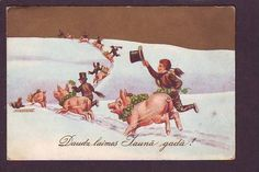 HAPPY NEW YEAR ! POSTCARD ca 1930  PIG SWEEP  LATVIA