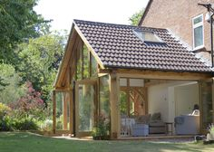 exterior room with veranda Bungalow Extensions, Garden Room Extensions, House Extensions, House Extension Design, House Design, Extension Ideas, Barn House Conversion, Oak Framed Extensions, Oak Framed Buildings
