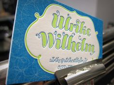 Visitenkarte Ulrike Wilhelm, Druck: Letterjazz