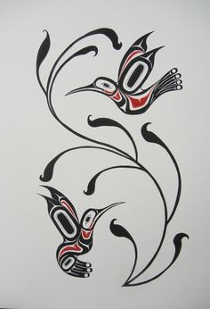 Now at EGallery Shop: Humming Birds  from Works of Carol Young (Bagshaw) Haida Artist  by Carol Young (Bagshaw) 2012  Silk screen Arist Proofs Acrylic on 140LB paper