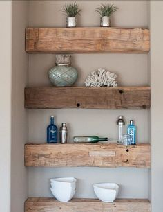 Currently obsessed, you?  Our baking niche below in our kitchen I used scaffolding planks cut down.  This picture is old, but here I used a very tall vintage door, cut in half,  as 2 shelves on our di