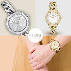 70's - Revival: Die Welt der Uhren verbindet sich mit der des Schmucks. Kettenarmbänder sind topaktuell und moderner als je zuvor! #Kettenarmband #Uhr #Watch
