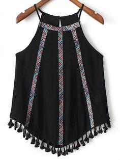 Black Fringed Hem Embroidery Spaghetti Strap Tank Top -SheIn(abaday)