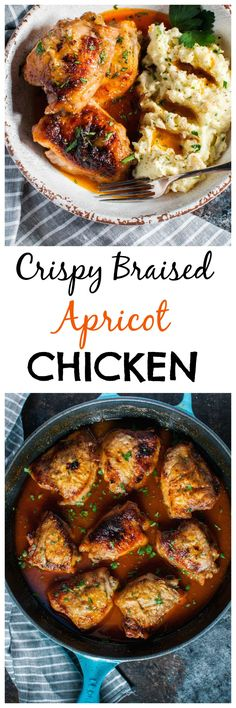 My crispy braised apricot chicken is sweet, sticky, and slightly smoky. I think you'll like this straightforward chicken recipe!